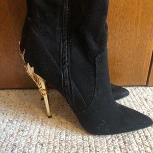 Gold embellished black suede boots